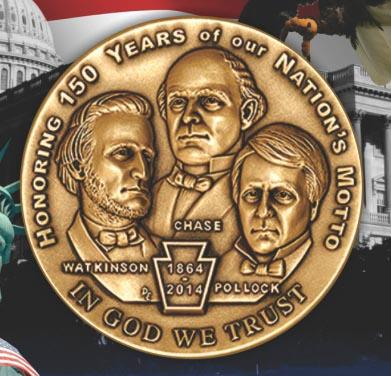 "commemorative coin 150th anniversary ""in god we trust"""