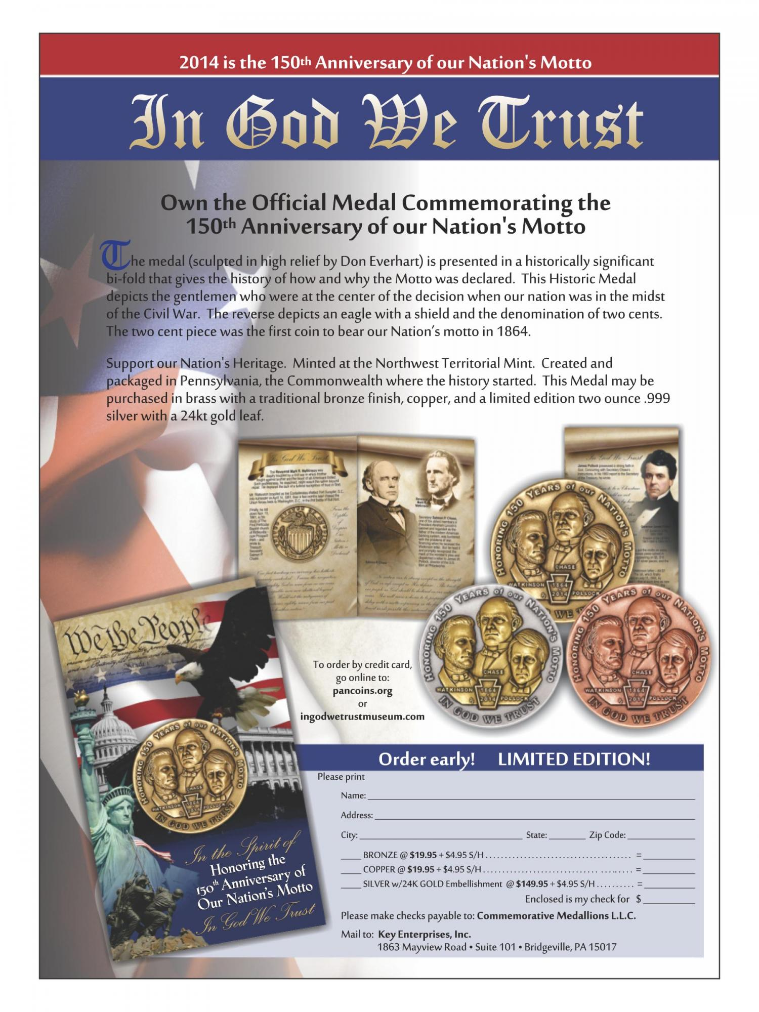 "commemorative coin ""in god we trust"""